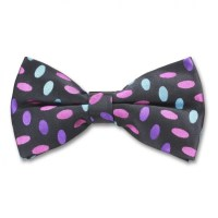 Ready Tied Black Bow Tie With Pink Purple and Blue Design ...